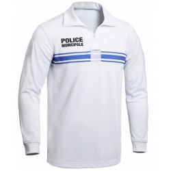 Polo Blanc manches longues ONE Police Municipale